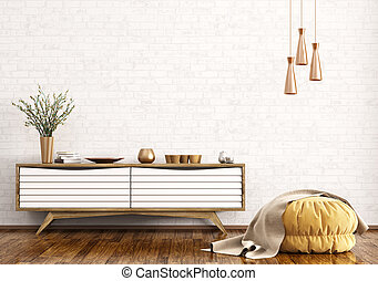 Modern interior of living room with wooden dresser and ottoman over brick wall 3d rendering