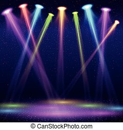 Modern interior of nightclub with empty show stage and color spot lights vector illustration
