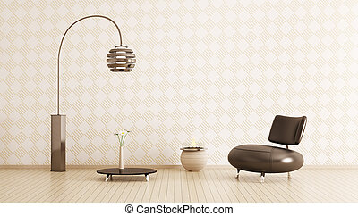 Modern interior of room with armchair, table and floor lamp 3d render