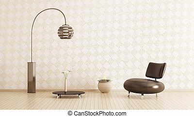 Modern interior of room 3d render