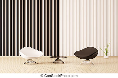 Modern interior of room with armchairs 3d render
