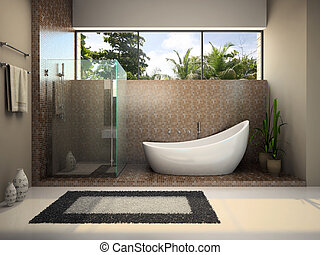 Modern interior of the bathroom - Interior of the modern...