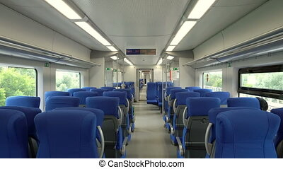 modern interior of the high-speed train swallow with...
