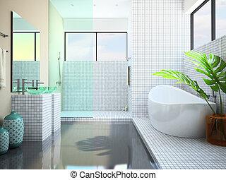 Modern interior of the white bathroom 3D rendering