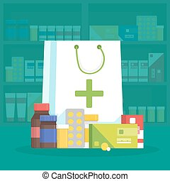 Modern interior pharmacy and drugstore. Sale of vitamins and medications. Shopping bag with different medical pills and bottles. Vector simple illustration