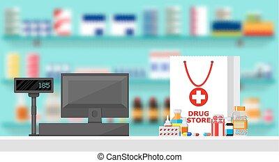 Modern interior pharmacy or drugstore.