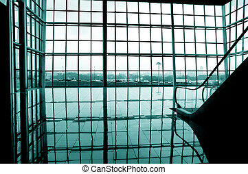 modern interior - modern glass big bay window -view on city...