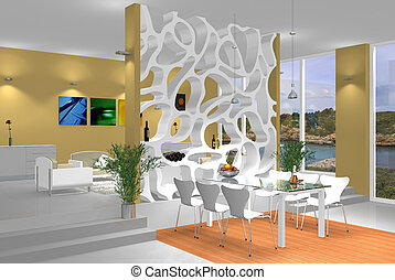 modern interior - rendering of a modern interior scene