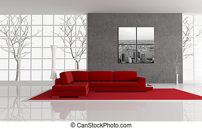 red angle sofa in front of a gray plaster wall and autumn tree on background. the art picture on wall is a my photo