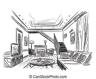 Modern interior room sketch.