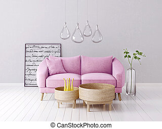 interior - modern interior room with nice furniture. 3d ...