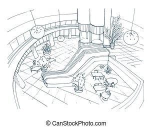 Modern interior shopping center, mall. Top view. Contour sketch illustration.