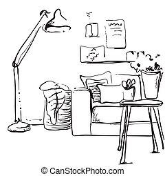Modern interior sketch. Hand drawing sofa and lamp.