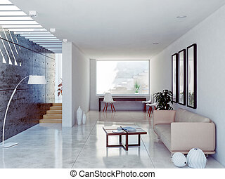 modern interior - modern living room interior. contemporary...