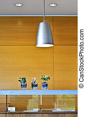 Modern interior with light fixtures and wood panels