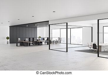 Modern interior style open space office with glossy concrete floor, stylish dark furniture, big windows with city view and conference room behind glass walls