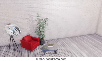 Modern interior with armchair and white brick wall - Modern...