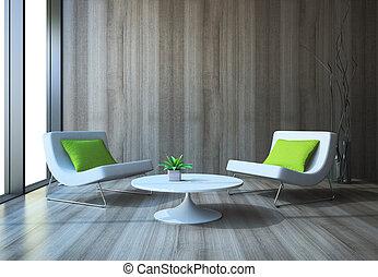 Modern interior with armchairs and coffee table