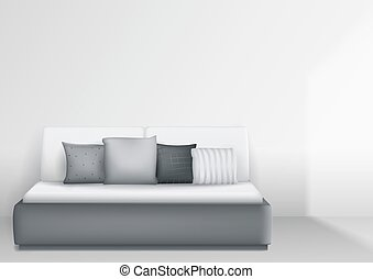 Modern interior with bed and pillows, bright room. Vector...