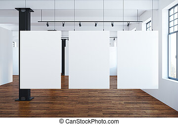 Modern interior with blank banners