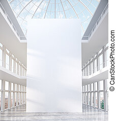 Modern interior with blank canvas
