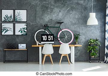 Modern interior with bright posters