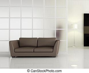 modern interior with brown leathe sofa