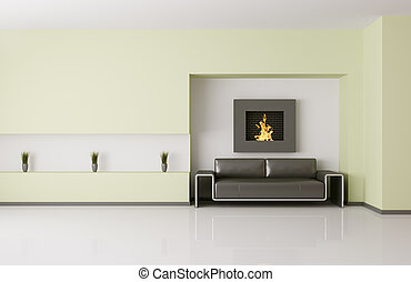 Modern interior with fireplace 3d render