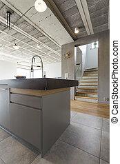 Modern interior with kitchen island
