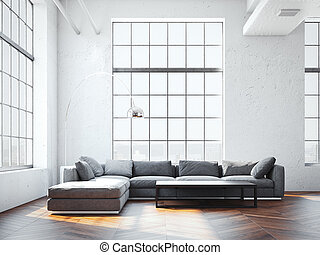 Modern interior with large gray sofa. 3d rendering