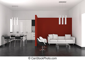 modern interior with living room dining room and kitchen
