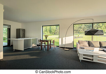 Modern interior with open floor plan