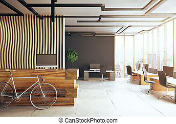 Modern flat interior with posters stock photo thinkstock