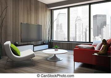 Modern interior with red sofa 3D rendering