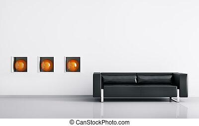 Modern interior of room with black sofa 3d render