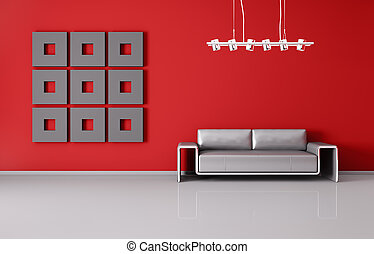 Modern interior of room with red wall and sofa 3d render