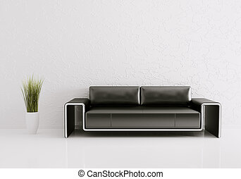 Modern interior with sofa 3d render - Modern interior of ...