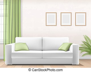 modern interior with sofa window picture frame