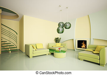 Modern interior with stair and fireplace 3d
