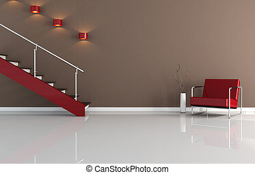 brown and red interior with staircase - rendering