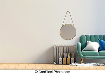 Modern interior with storage box and sofa. Wall mock up. 3d illustration.
