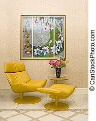 Modern interior with vitrage