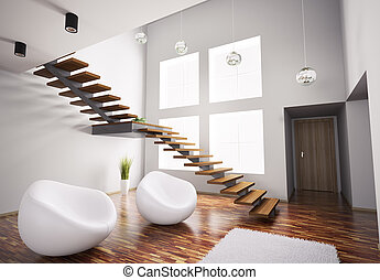 Modern interior with white armchairs and staircase 3d - ...