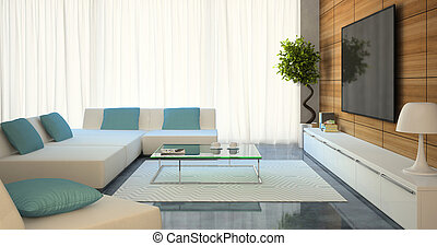 Modern interior with white sofas and tv 3d