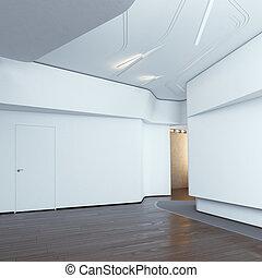 Modern interior with white walls. 3d render