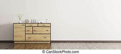Modern interior with wooden dresser panorama 3d rendering
