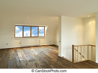 modern interior with wooden floor, there is a path for ...