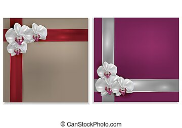 greeting card with orchid flower