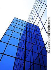 modern, irodaépület, noha, gondolkodás, windows