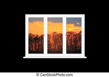 modern isolated window overlooking the scarlet sunset - view...